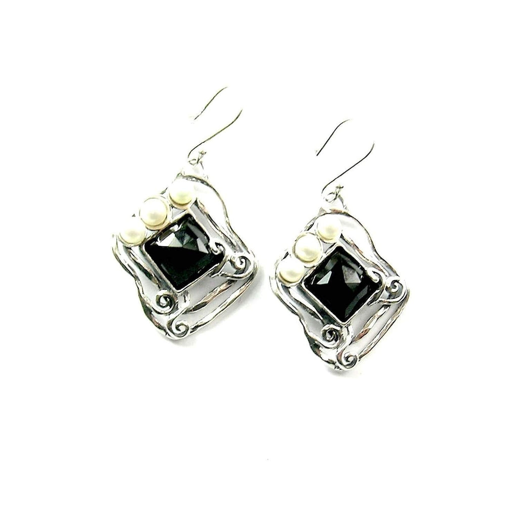 Drop Pearl & Onyx Earrings - E5461-Ogham Jewellery