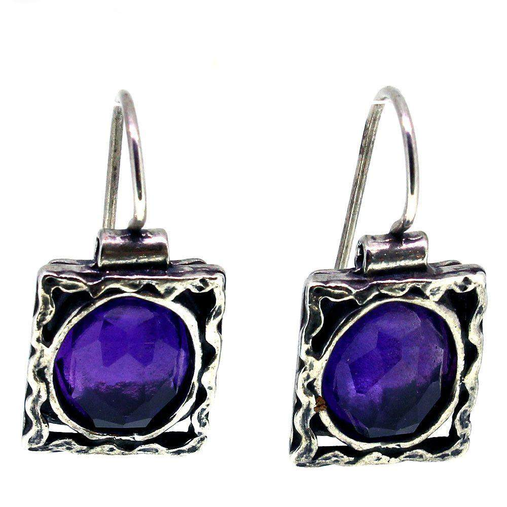 Drop Silver And Amethyst Earrings - STE361-Ogham Jewellery