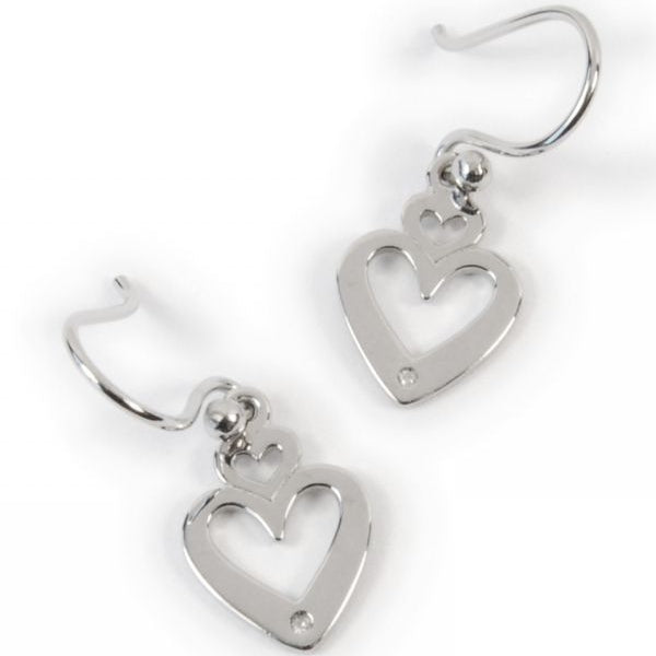 Sterling Silver Double Heart Earrings With Diamonds - E605DI