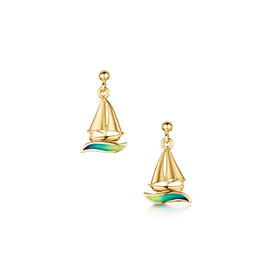 Orkney Yole 18ct Yellow Gold Drop Earrings With Enamel - EE250