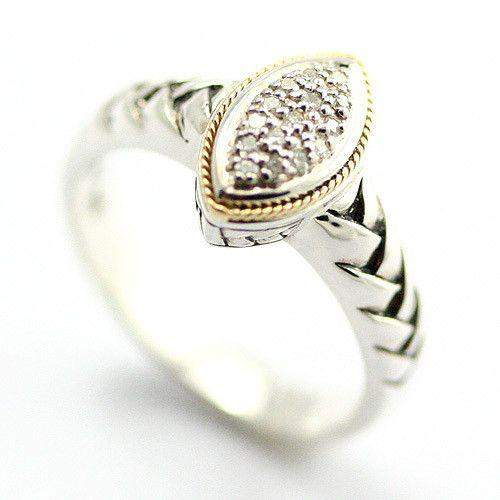Silver, 18 Carat Gold & Diamonds Marquise Shaped Ring