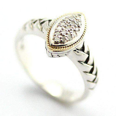 Silver, 18 Carat Gold & Diamonds Marquise Shaped Ring-Ogham Jewellery