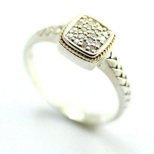 Silver, 18 Carat Gold & Diamonds Square Shaped Ring