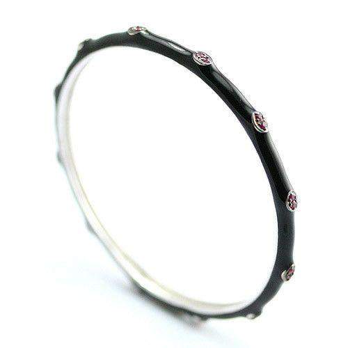 Sterling Silver Enamel and Ruby Bangle-719R-Ogham Jewellery