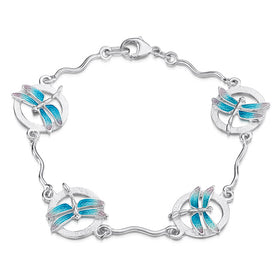 Dragonfly Sterling Silver and Enamel Bracelet - EBL240