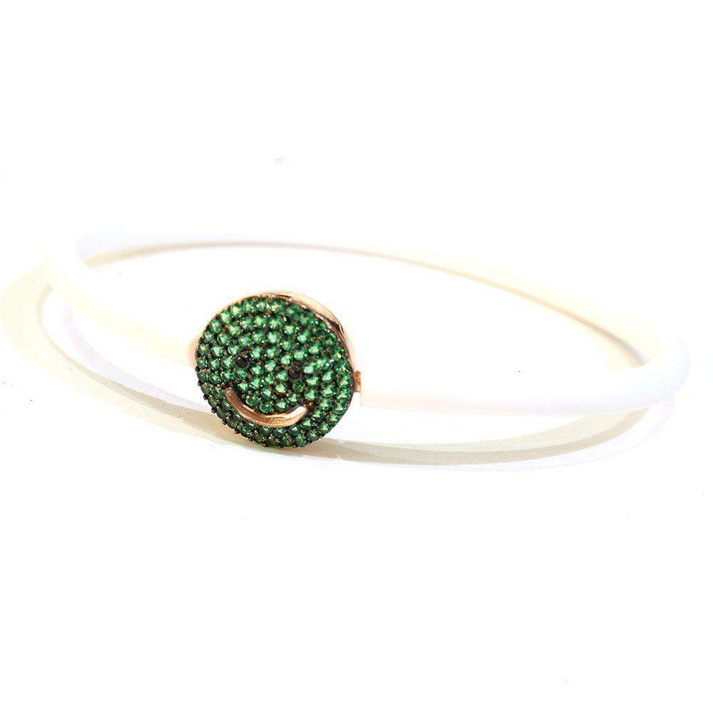 Figaro Emoji Green And White Bangle-Ogham Jewellery