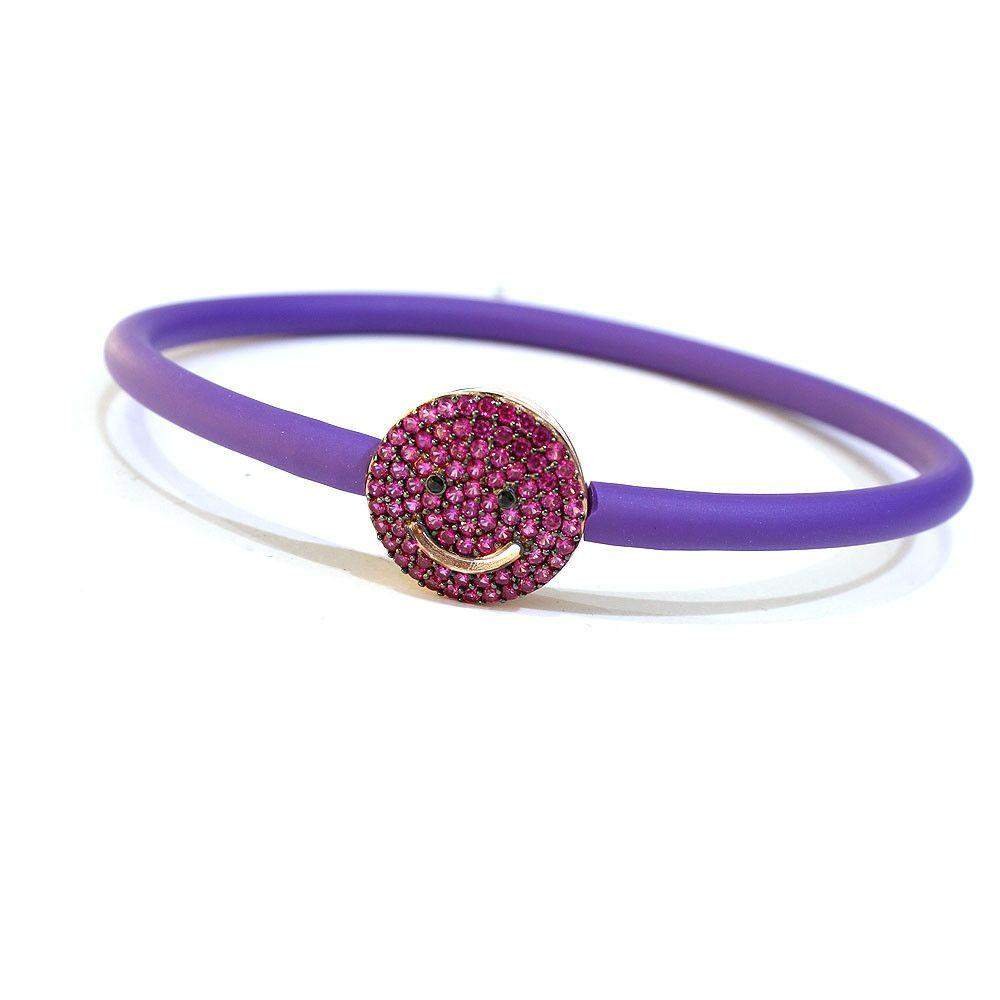 Figaro Emoji Pink And Purple Bangle-Ogham Jewellery