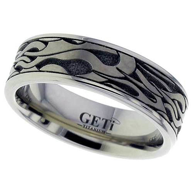 Flame Design Titanium Ring - 2226-FL1