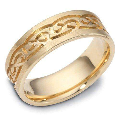 Gold or White Gold Celtic Ring - W1488 - Size J-Q-Ogham Jewellery