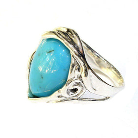 Hagit Gorali Silver And Turquoise Ring - M324-Ogham Jewellery