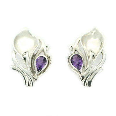 Hagit Gorali Sterling Silver And Amethyst Earrings 22.08-Ogham Jewellery