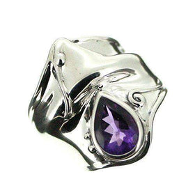Hagit Gorali Sterling Silver And Amethyst Ring-D162-Ogham Jewellery