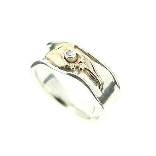 Sterling Silver And Gold Ring-A284