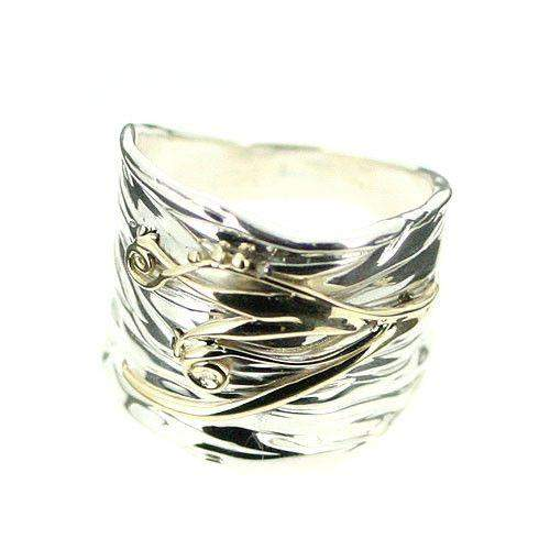 Sterling Silver And Gold Ring-E351