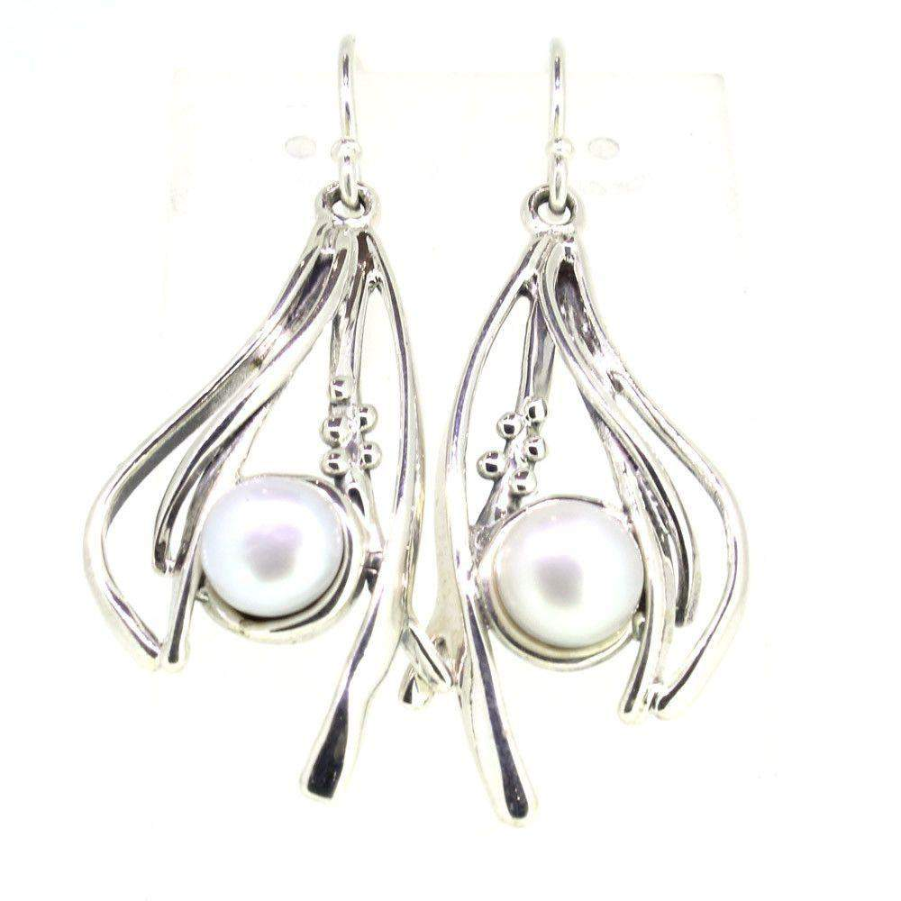 Hagit Gorali Sterling Silver And Pearl Earrings O479-Ogham Jewellery