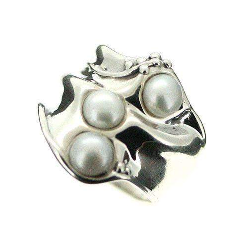 Hagit Gorali Sterling Silver And Pearl Ring-D130-Ogham Jewellery