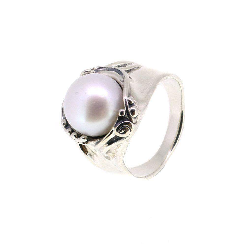 Hagit Gorali Sterling Silver And Pearl Ring-D302-Ogham Jewellery