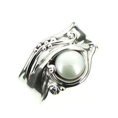 Hagit Gorali Sterling Silver And Pearl Ring-D370-Ogham Jewellery
