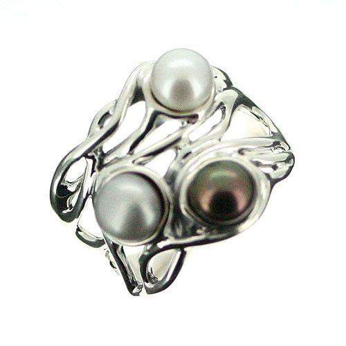 Hagit Gorali Sterling Silver And Pearl Ring-D403-Ogham Jewellery
