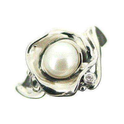 Hagit Gorali Sterling Silver And Pearl Ring-D571-Ogham Jewellery