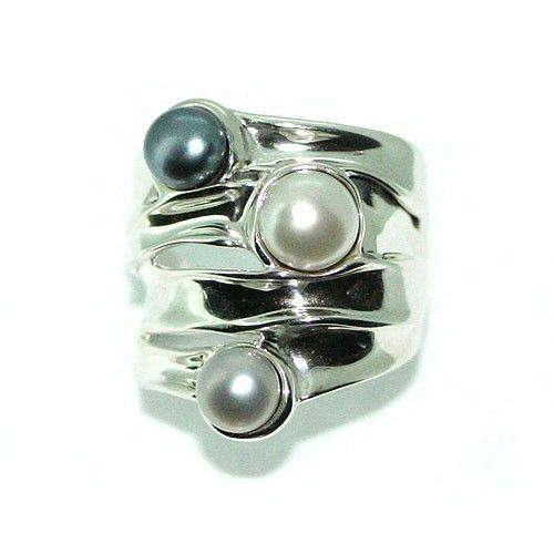Hagit Gorali Sterling Silver And Pearl Ring-E363-Ogham Jewellery