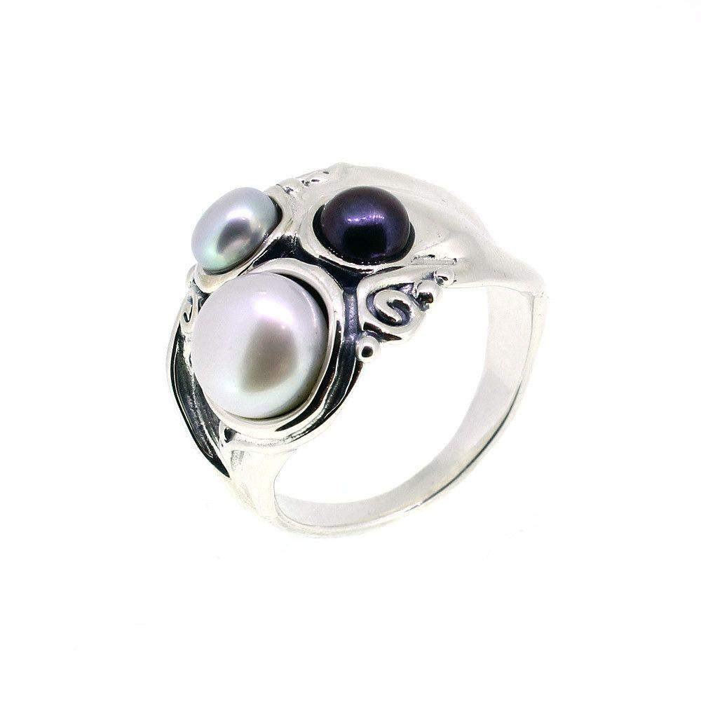 Hagit Gorali Sterling Silver And Pearl Ring-E364-Ogham Jewellery
