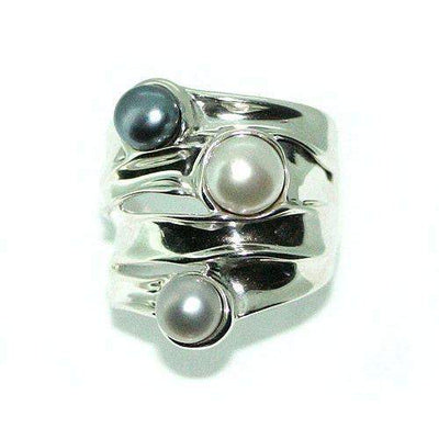 Hagit Gorali Sterling Silver And Pearl Ring HE363-Ogham Jewellery