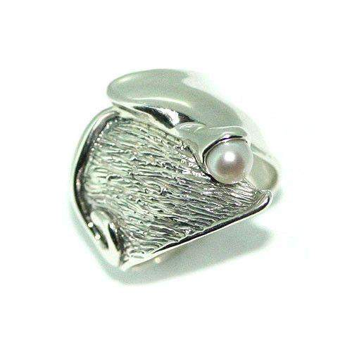Hagit Gorali Sterling Silver And Pearl Ring -L359-Ogham Jewellery
