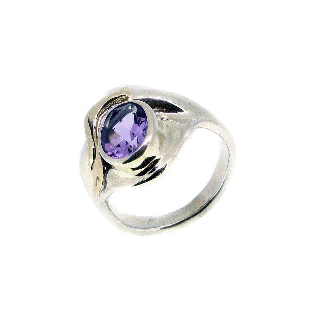 Hagit Gorali Sterling Silver Gold And Amethyst Ring-RC154-Ogham Jewellery