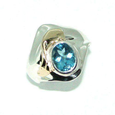 Hagit Gorali Sterling Silver Gold &Topaz Ring-HRC154-Ogham Jewellery