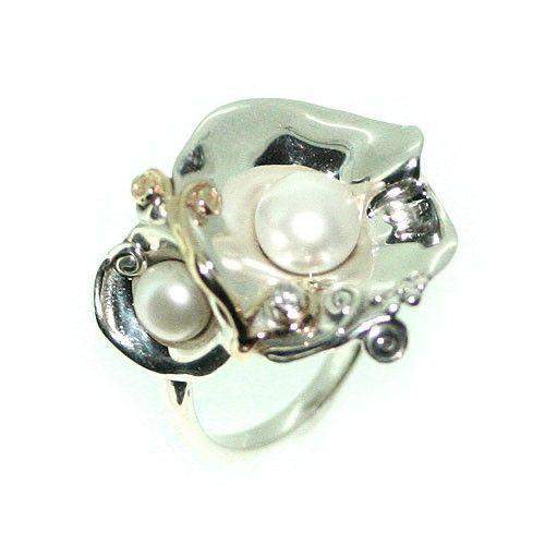 Hagit Gorali Sterling Silver Pearl & Diamond Ring-DG560-Ogham Jewellery
