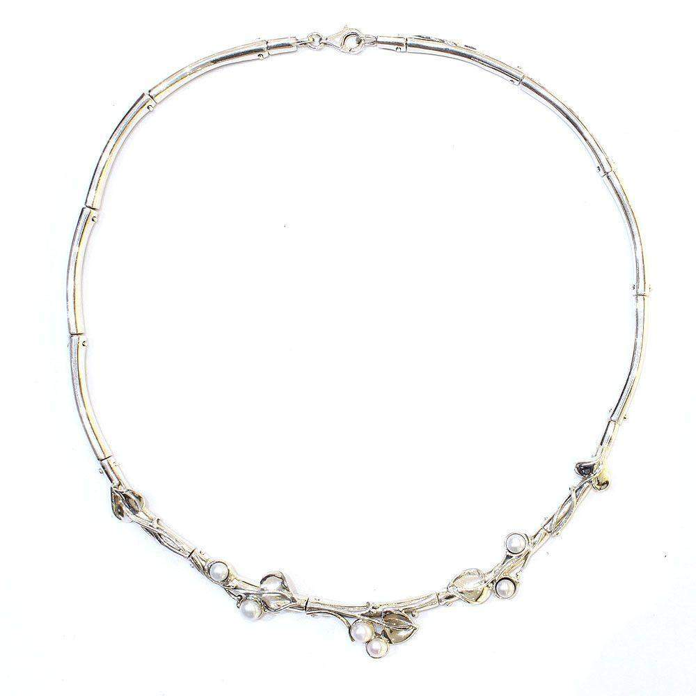 Hagit Gorali Sterling Silver & Pearl Necklace -1565-Ogham Jewellery