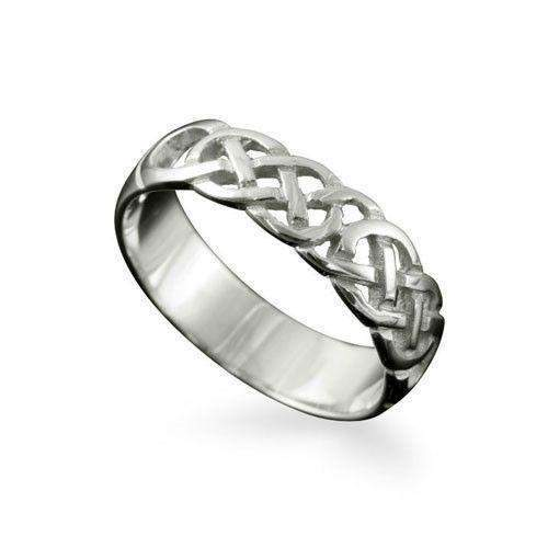 Celtic Ring in Silver, Gold, Platinum - Shetland-R126 J-Q-Ogham Jewellery