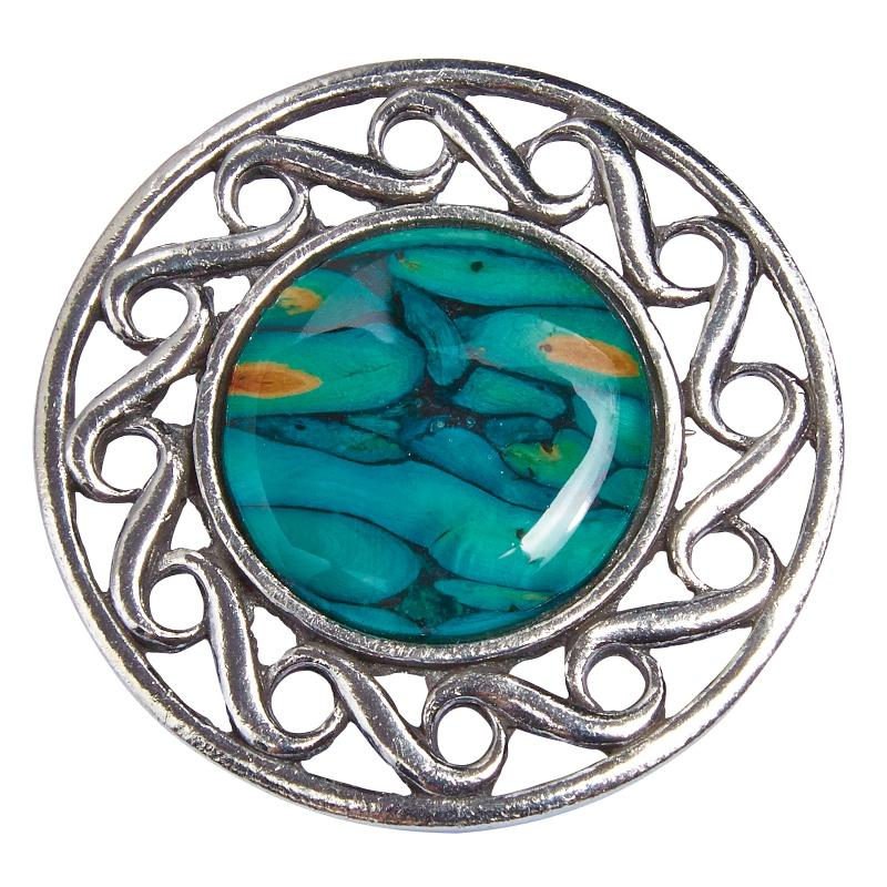 Heather Celtic Swirl Brooch - HB51-Ogham Jewellery