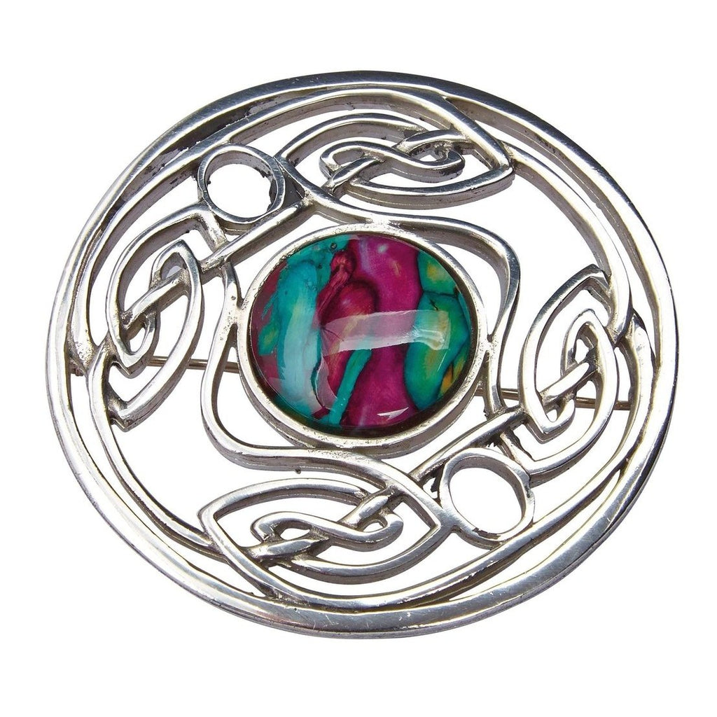 Heather Celtic Weave Brooch - HB67-Ogham Jewellery