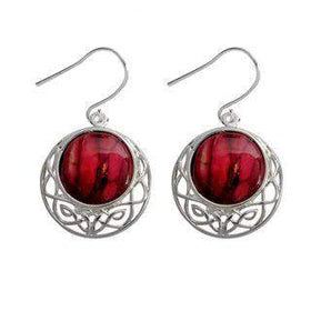 Heather Cormag Celtic Drop Earrings - HE88-Ogham Jewellery