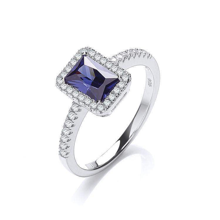 Blue Cubic Zirconia Dress Ring -JZR081