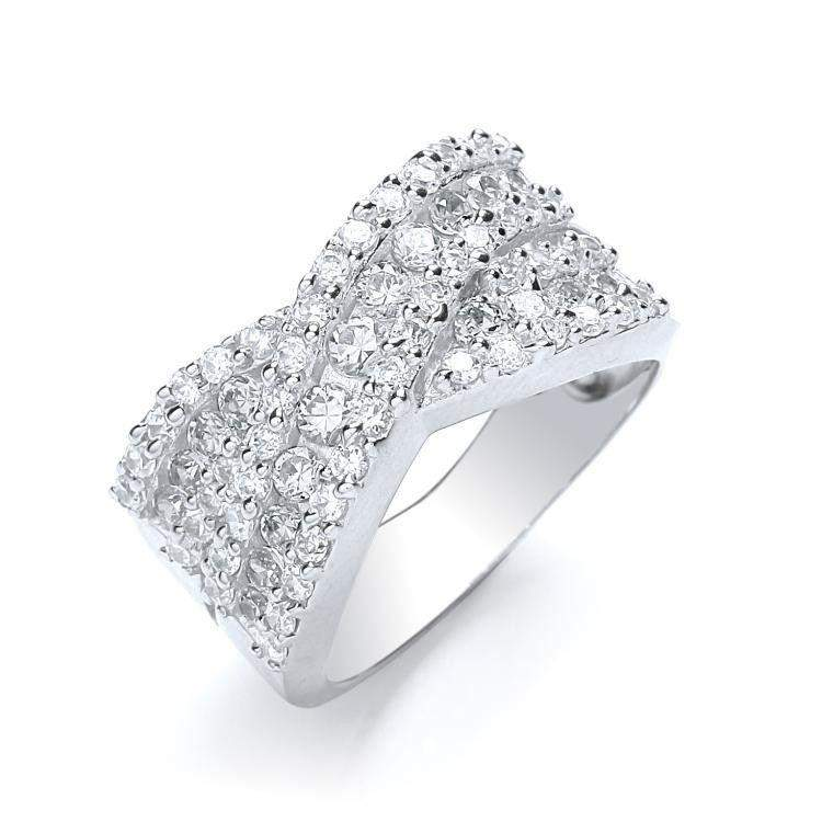 J JAZ Cubic Zirconia Crossover Dress Ring -JZR039-Ogham Jewellery