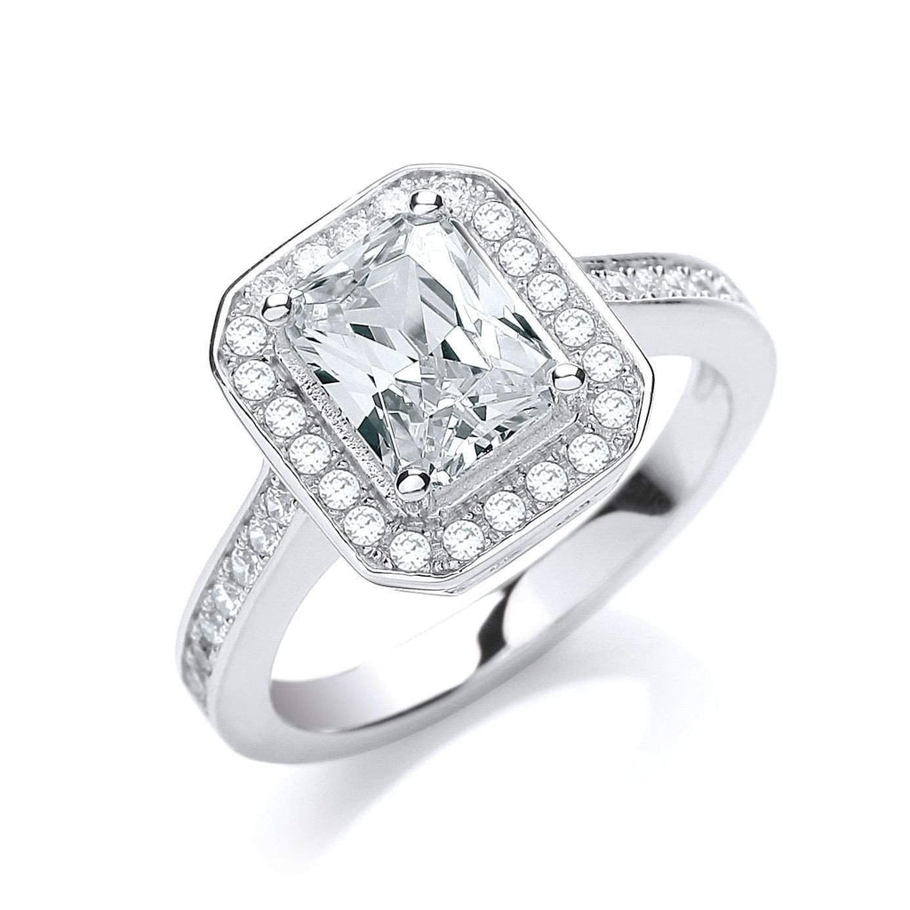 J JAZ Cubic Zirconia Dress Ring -JZR027-Ogham Jewellery
