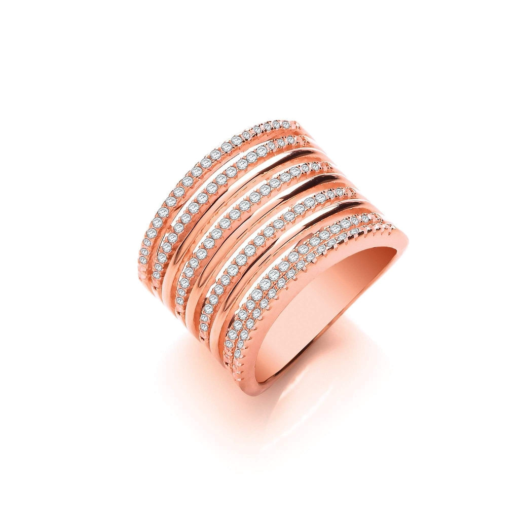 J JAZ Cubic Zirconia Dress Ring -JZR098-Ogham Jewellery