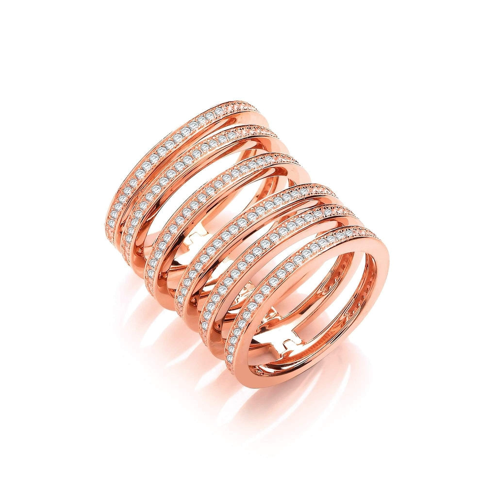 J JAZ Cubic Zirconia Dress Ring -JZR099-Ogham Jewellery