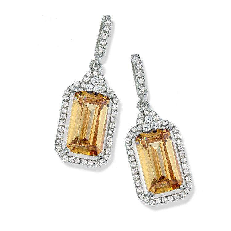J Z Cubic Zirconia Champagne Earrings-JZER103-Ogham Jewellery