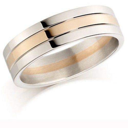 Ladies 9ct or 18ct White & Rose Gold Wedding Ring - EX447-Ogham Jewellery