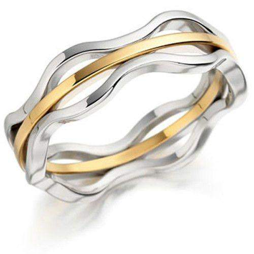 Ladies Bi-Colour 9ct or 18ct Gold Wedding Ring - EX412 BN-Ogham Jewellery