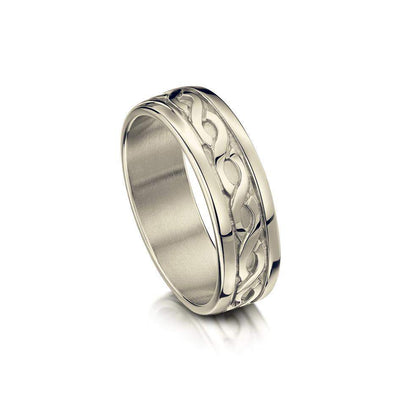 Ladies Celtic Ring in Silver Gold Platinum or Palladium - R13 - Size J-Q-Ogham Jewellery