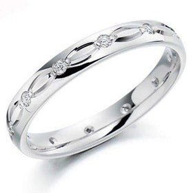 Ladies Diamond Wedding Ring - 9ct, 18ct Yellow or White Gold, Palladium or Platinum - XD960-Ogham Jewellery