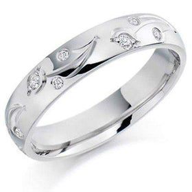 Ladies Diamond Wedding Ring - 9ct, 18ct Yellow or White Gold, Palladium or Platinum, XD972-Ogham Jewellery