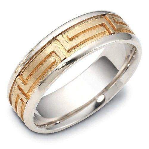 Ladies Greek Key Two Tone 9ct or 18ct Gold Wedding Ring - KW1647-Ogham Jewellery