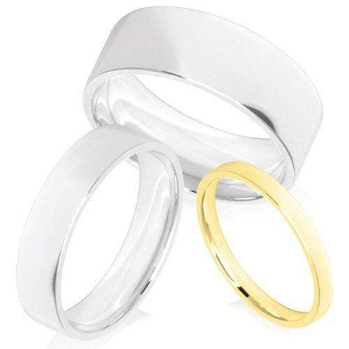 Ladies Light Weight Flat Court Shape Wedding Band - Gold Platinum Palladium - 3-5mm