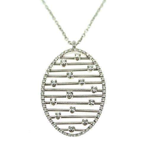 Marco Bicego Oval 18ct White Gold & Diamond Pendant-Ogham Jewellery